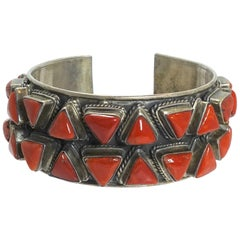 Vintage Early Zuni Pawn American Indian Blood Coral & Sterling Cuff Bracelet