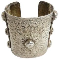 Vintage Handmade Wide 5-1/2 oz Sterling Silver Heavily Carved Cuff Bracelet