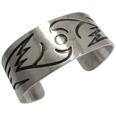 Vintage Hopi American Indian Sterling Silver Cuff Bracelet