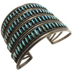 Vintage Zuni Pawn American Indian Needlepoint Turquoise & Sterling Cuff