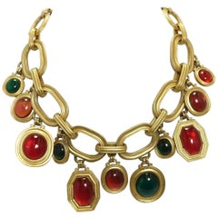 Vintage Important Signed Yves St. Laurent  Poured Glass Drops Necklace