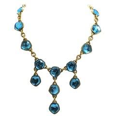 Vintage Signed Yves St. Laurent YSL Aqua Blue Poured Glass Drops Necklace