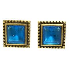 Vintage Signed Yves St. Laurent YSL Aqua Blue Poured Glass Earrings