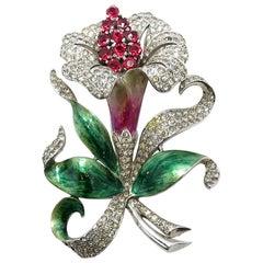 Rare Vintage Signed MB Marcel Boucher 3-Dimensional Orchid Brooch