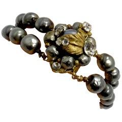 Vintage Miriam Haskell Gray Pearl & Crystals 2-Strand Bracelet