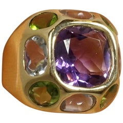 Vintage Signed CHANEL 18kt Gold, Amethyst, Aquamarine, Peridot  Ring, Size 9