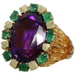 Vintage 14kt Gold, 12ct Amethyst, 1/2ct Oval Emeralds Ring, Size9