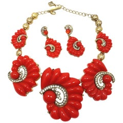Signed Oscar de la Renta Red & Crystals Necklace & Earrings
