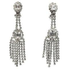 Vintage Long Clear Rhinestone Dangling Clip Earrings