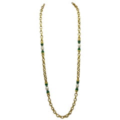 Vintage Long Faux Pearl & Green Bead Chain Link Rope Necklace