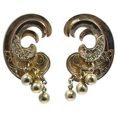 Vintage Gold Tone Swirl Clip Earrings
