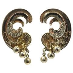 Vintage Gold Tone Swirl Clip Earrings