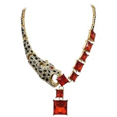 Original Leopard with Red & Clear Crystals Necklace