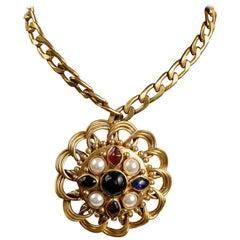 Chanel Gold Gripoix Medallion Vintage Necklace- 1970's