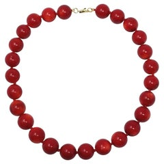 """Vintage Italian 17mm Natural Blood Red Sea Coral 19.75"""" Necklace 14K Gold Clasp"""