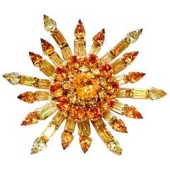 50'S Gold Plate & Austiran Cyrstal 3-D Sunburst Brooch By, Kramer