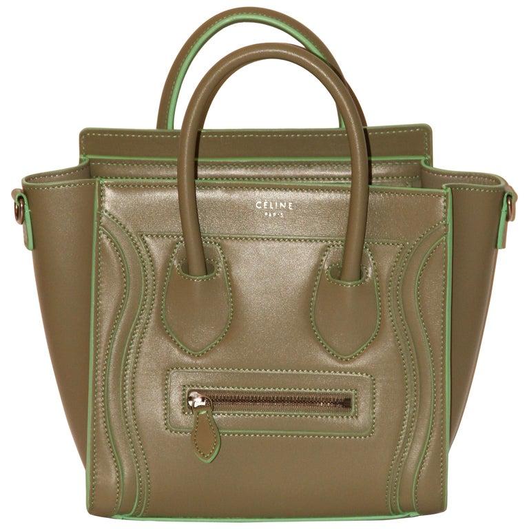 Celine Light Kaki Leather Nano Luggage Bag