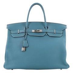 Hermes Birkin Handbag Blue Jean Togo with Palladium Hardware 40