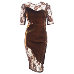 Haney Jacqueline  Bronze Lame and Lace  Mid Length Cocktail Dress