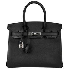 Hermes Birkin 30 Bag Black Epsom Leather Palladium Hardware New
