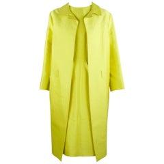 Oscar de la Renta Yellow Dress with Matching Overcoat - Size US 4
