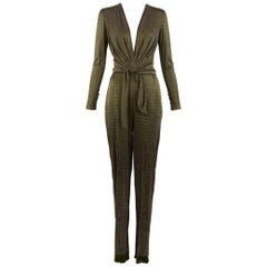 Pucci Brown & Silver Beaded Jumpsuit - Size IT 44