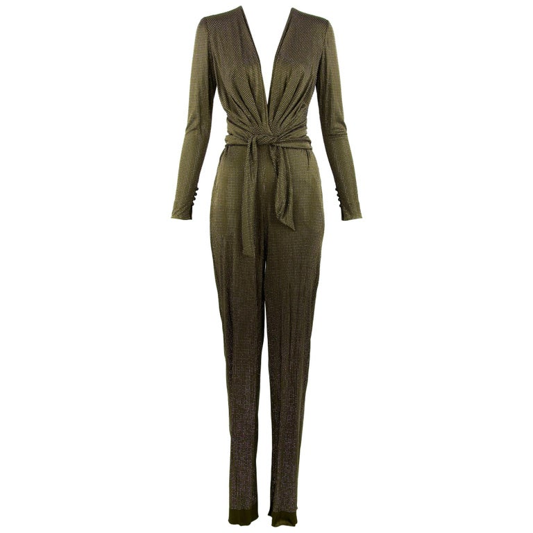 Pucci Brown & Silver Beaded Jumpsuit - Size IT 44 For Sale