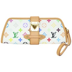 Louis Vuitton Shirley White & Multi-Color LV Monogram Clutch/Wristlet Bag