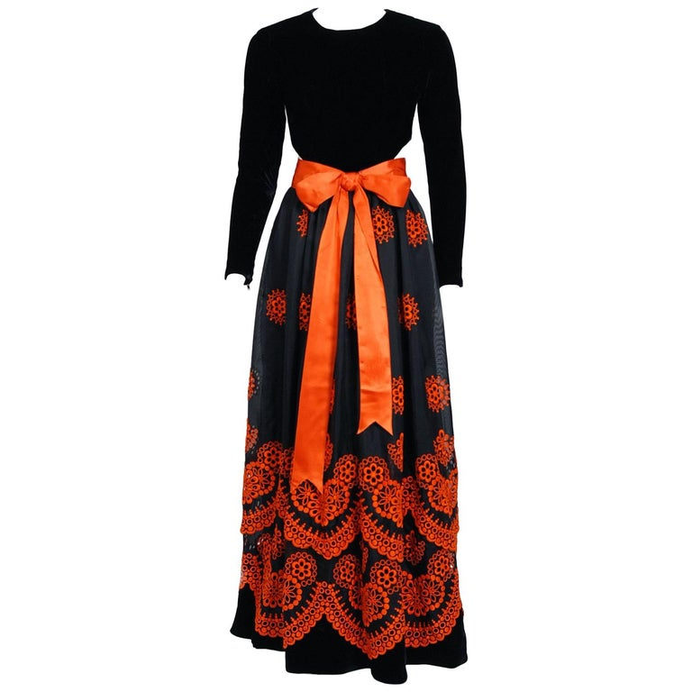 1973 Pierre Balmain Haute-Couture Embroidered Black Orange Organza Cut-Out Gown
