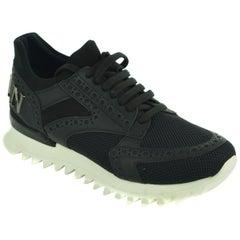 Philipp Plein Womens Black Leather Mesh Net Runner Sneakers