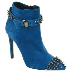 Philipp Plein Womens Blue Suede On My Boo Booties