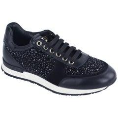 Philipp Plein Women Black Leather Embellished Go Home Sneakers