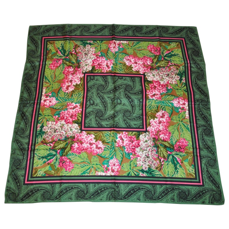 "Oscar de la Renta ""Gold Collection"" Majestic Green Palseys & Wild Florals Scarf For Sale"