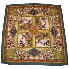 "Mark Cross Beautiful and Elegant ""Bundles of Fall Florals"" Silk Jacquard Scarf"