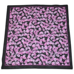 "Midnight Blue Borders with ""Multi Shades of Violet & Lavender Leaves"" Scarf"