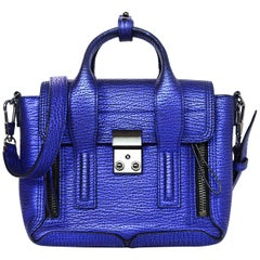 3.1 Phillip Lim Blue Metallic Leather Mini Pashli Crossbody Bag