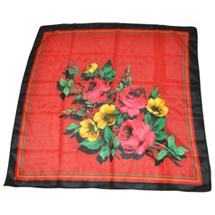 "Multicolor ""Christmas Florals"" with Black Borders Wool Blend Scarf"