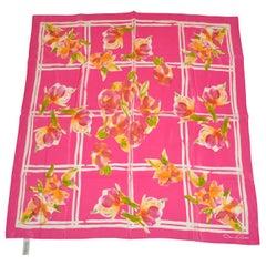 "Oscar de la Renta Beautiful Shades of Fuchsia ""Florals & Squares"" Silk Scarf"