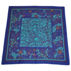 "Shades of Lapis & Blues ""Jungle"" with Lapis Border Fringed Scarf"