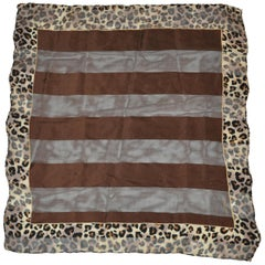 Bill Blass Coco Brown with Leopard Borders Silk and Silk Chiffon Scarf