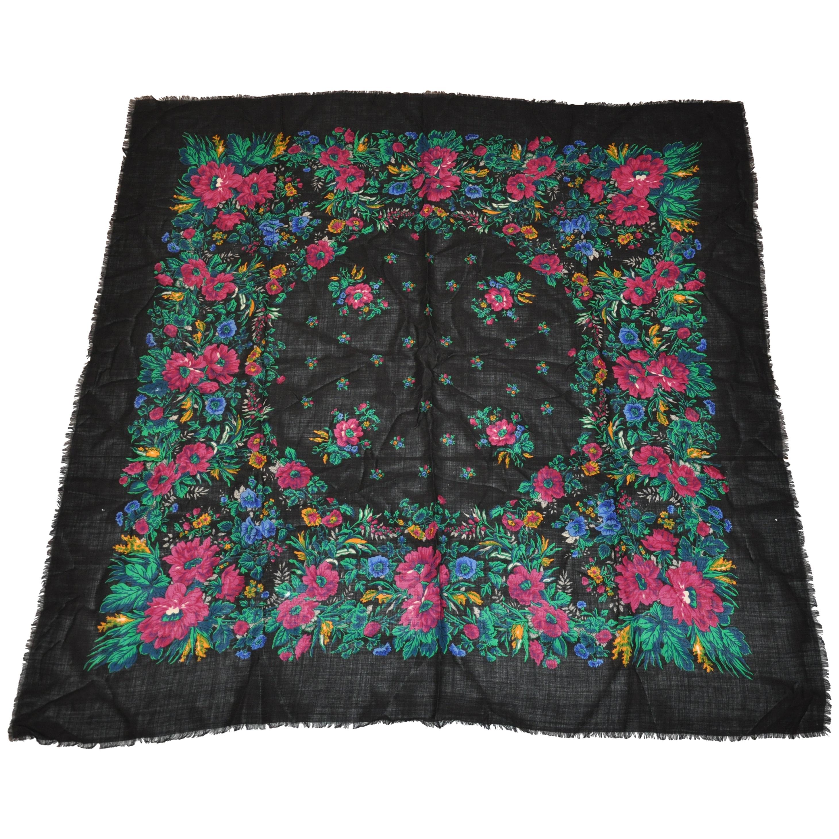 "Anne Klein for Saks Fifth Avenue Huge Multicolor ""Winter Florals"" Fringed Scarf"
