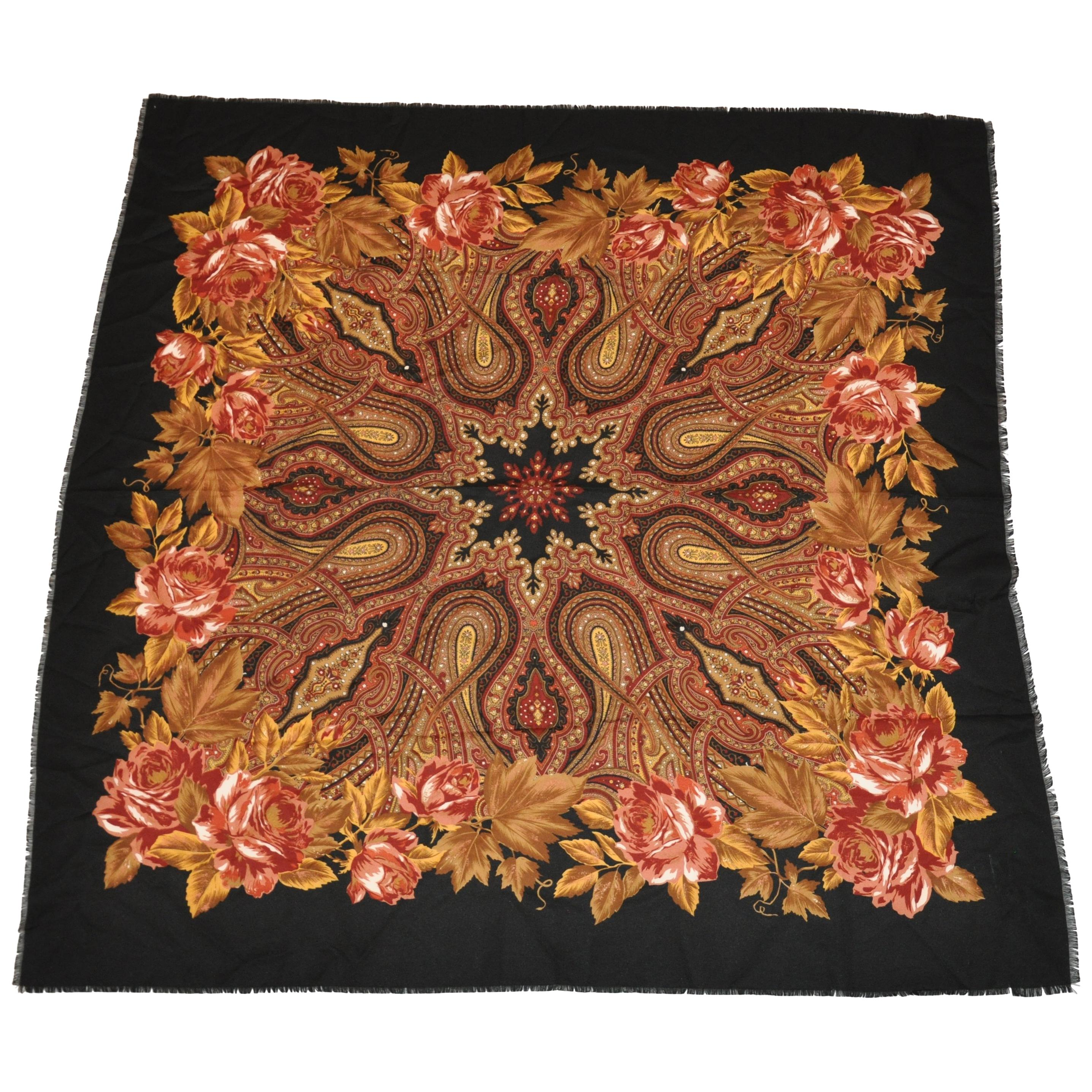 """Huge Vivid Multi-Color """"Winter's Florals"""" with Black Borders Fringed Scarf"""