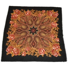 "Huge Vivid Multi-Color ""Winter's Florals"" with Black Borders Fringed Scarf"