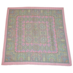 "Multi Color ""Summer Shades of Palseys"" with Pink Fringed Borders Scarf"
