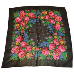 "Huge Majestic Black ""Bursting Evening Florals"" with Metallic Gold Lame Shawl"