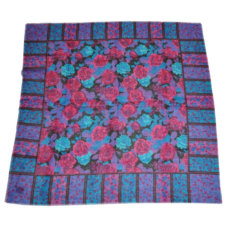 Glentex Warm Floral Fringed Scarf For Sale