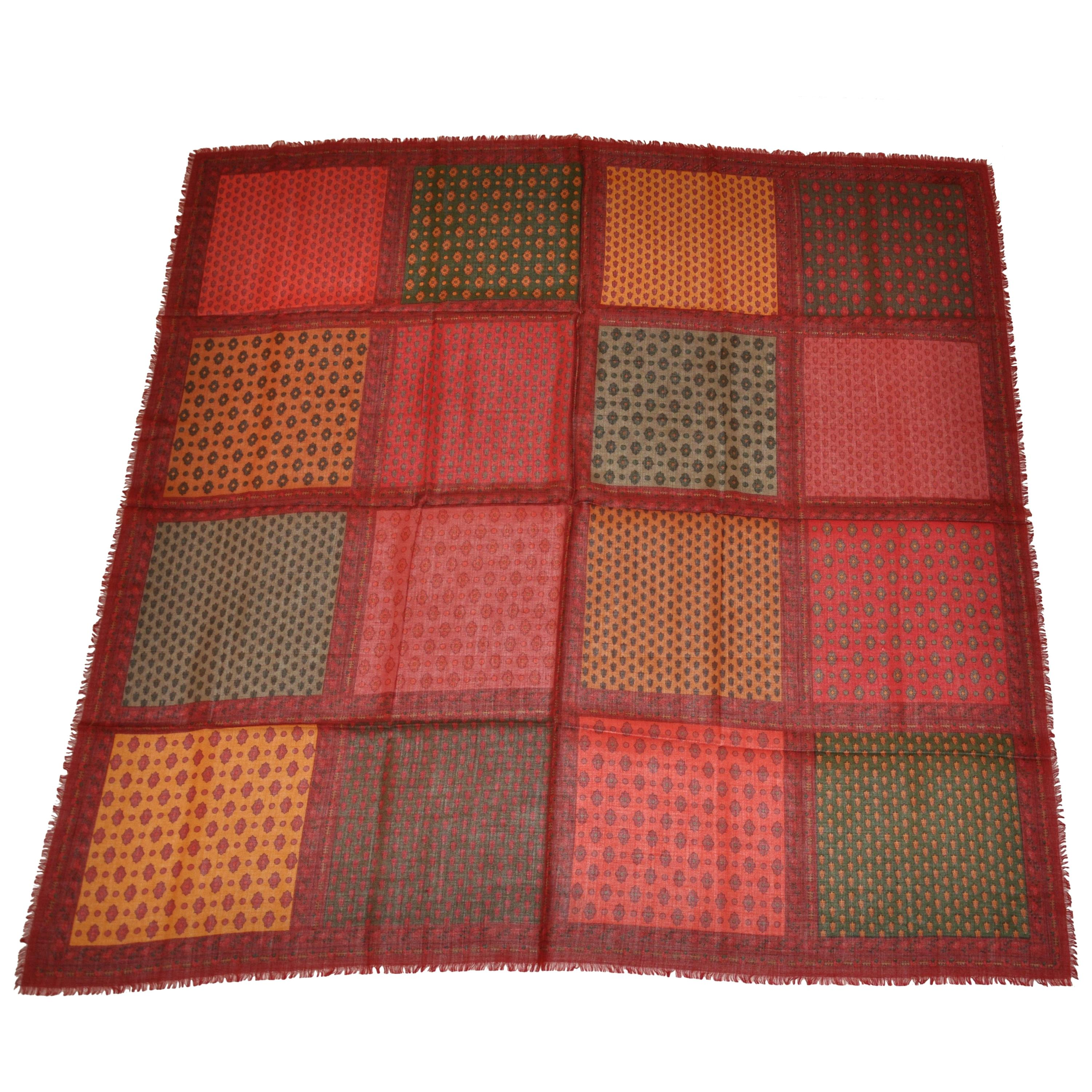 """Huge Rich Multi Color """"Patchwork"""" Wool Challis Fringed Shawl"""