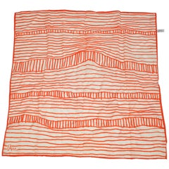 "Vera Whimsical Ivory & Tangerine ""Bridge Over Waters"" Acetate Scarf"