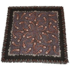 Sally Gea Richly Coco-Brown Fringed Palsey Wool Challis Scarf