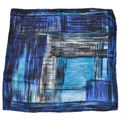 "Shades of Blues & Black ""Brush Strokes"" Silk Handkerchief"